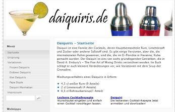 Daiquiris.de informiert über Cocktails, im Speziellen über Daiquiris